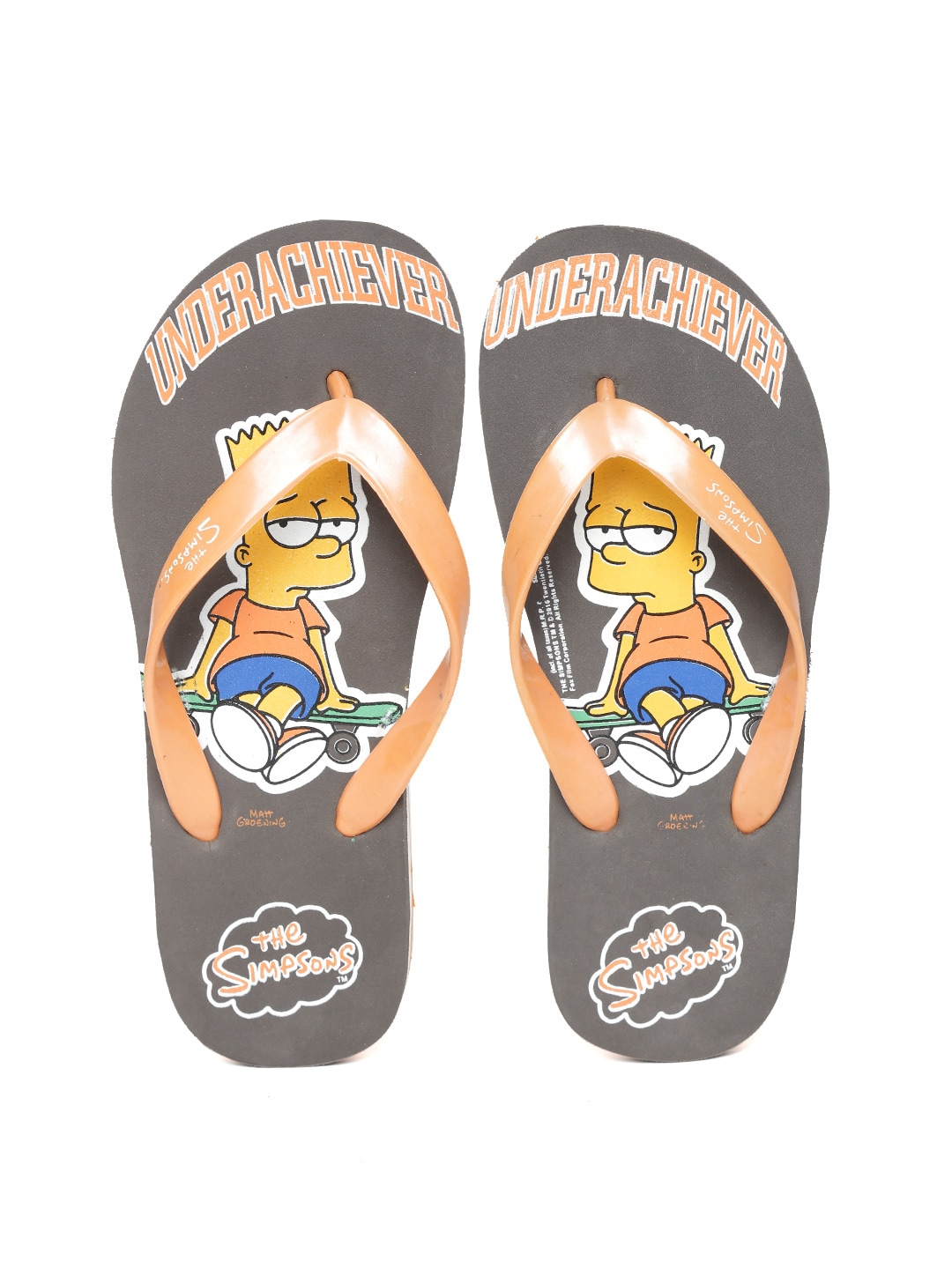 Kook N Keech Men Orange & Taupe The Simpsons Print Flip-Flops image