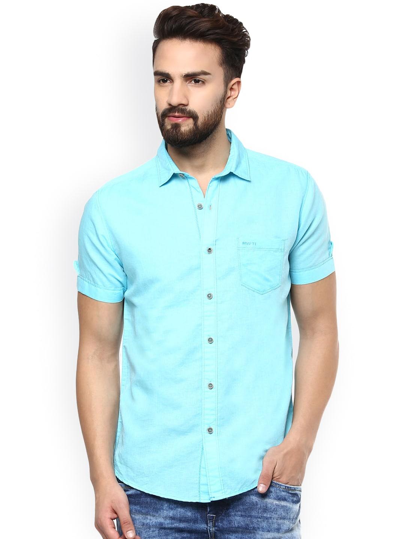 Mufti Men Blue Slim Fit Linen Casual Shirt image