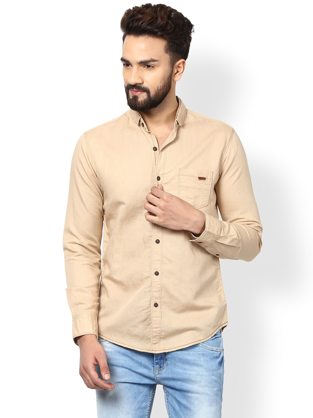 Mufti Men Beige Slim Fit Solid Casual Shirt image