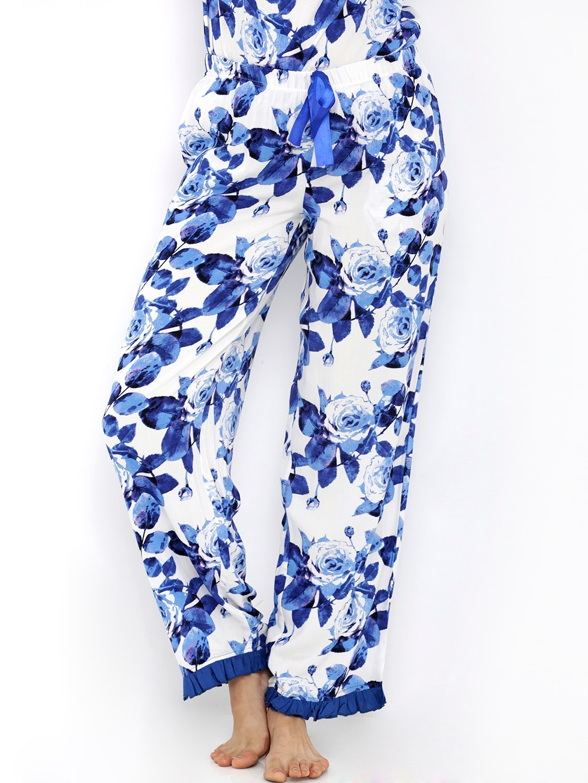 Heart 2 Heart White & Blue Floral Print Lounge Pants LP82SKYVIOW image