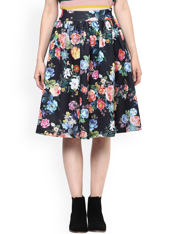 Harpa Black Floral Print Flared Skirt image