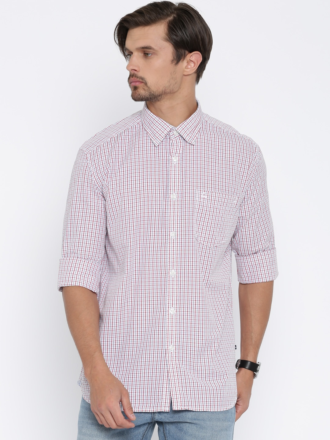 Parx White & Red Slim Fit Checked Casual Shirt image