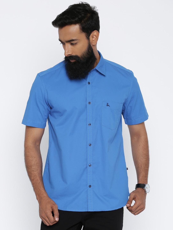 Parx Men Blue Slim Fit Solid Casual Shirt image