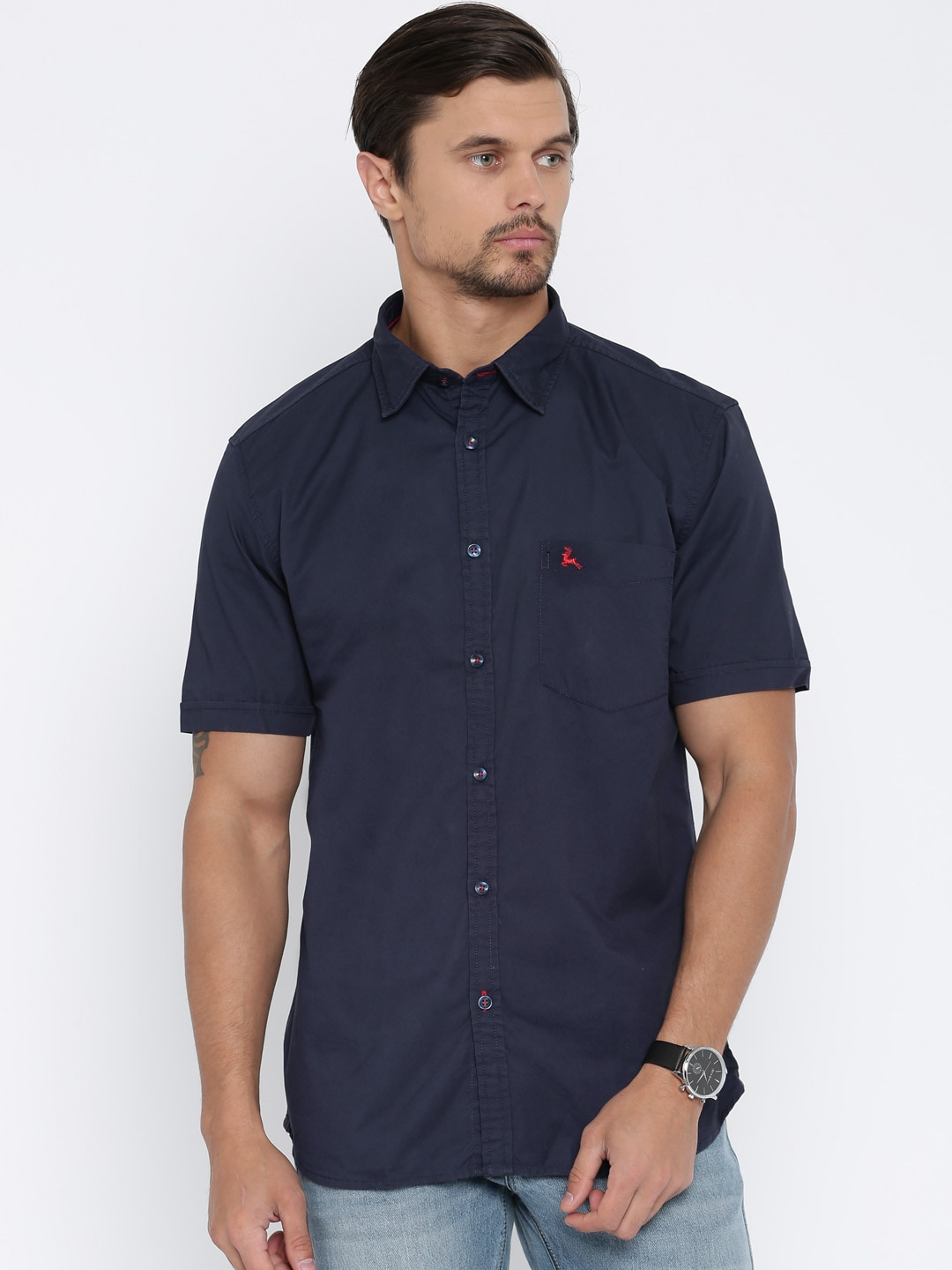 Parx Navy Slim Fit Solid Casual Shirt image
