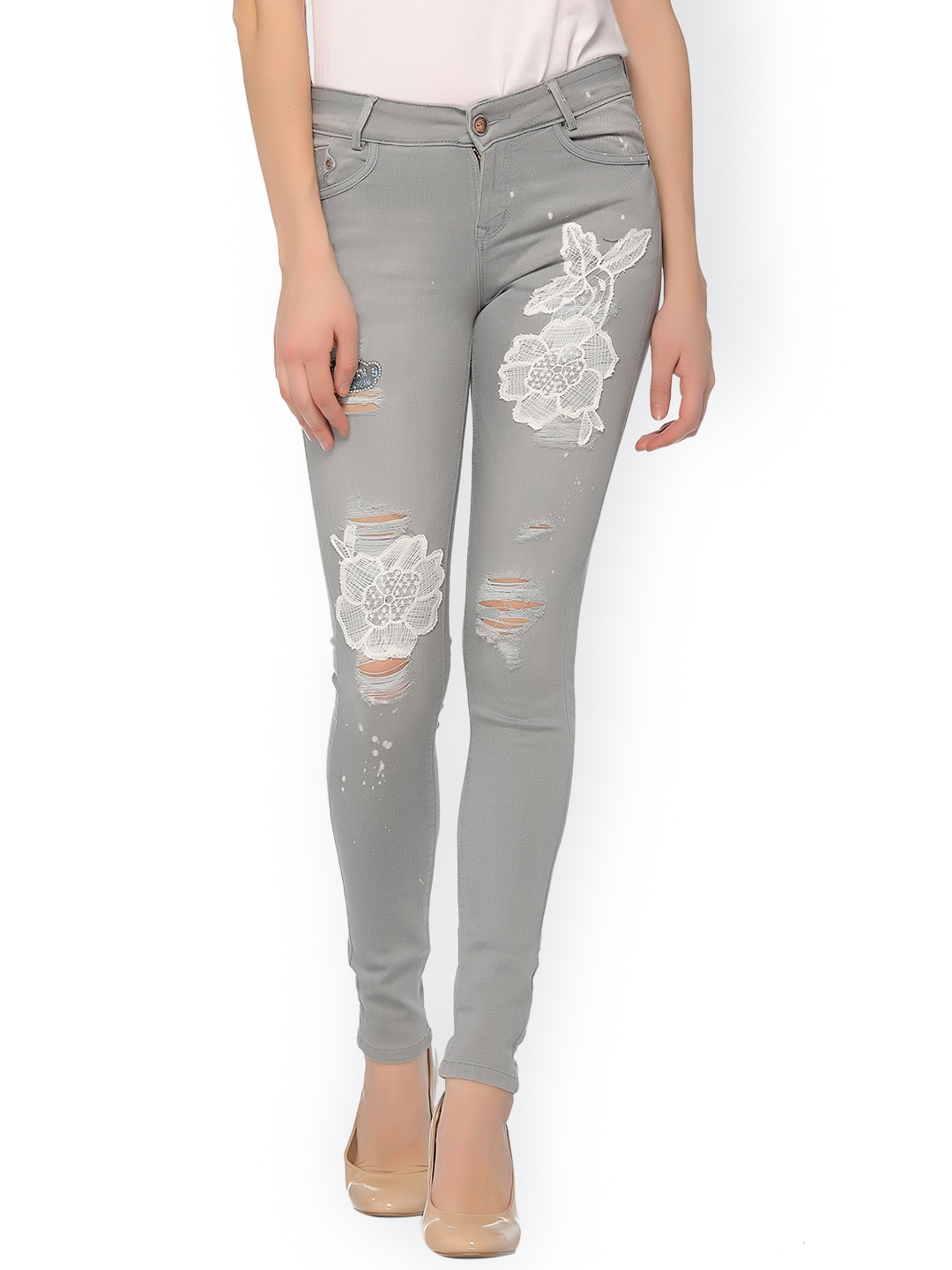 Xblues Women Grey Rick Slim Fit Mid-Rise Jeans image