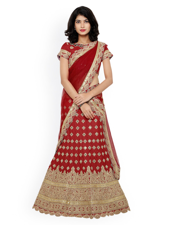 Janasya Red Embroidered Silk & Net Semi-Stitched Lehenga Choli with Dupatta image