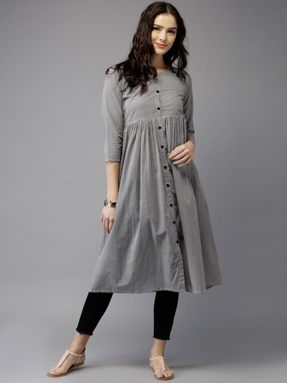 Moda Rapido Grey & White Printed A-Line Women Kurta