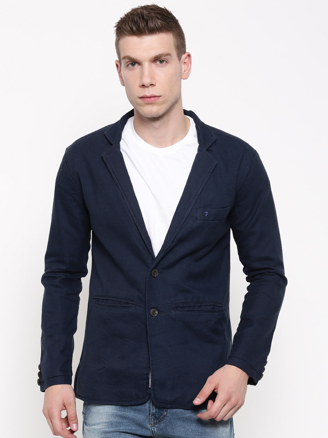 FIFTY TWO Blue & Black Checked Regular Fit Single-Breasted Casual Blazer image