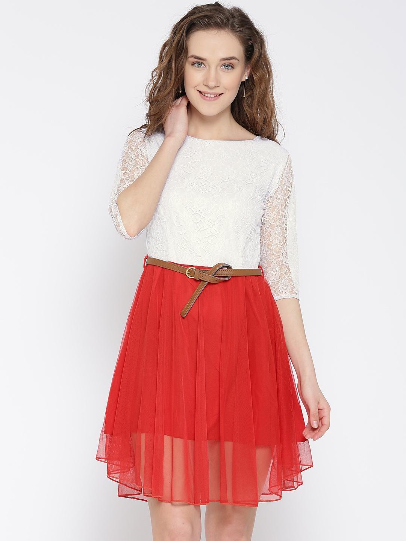 U&F Women White & Red Lace Fit & Flare Dress image