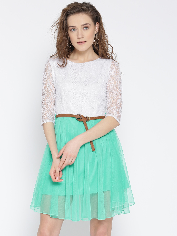 U&F Women White Crepe Colourblocked Lace Fit & Flare Dress image