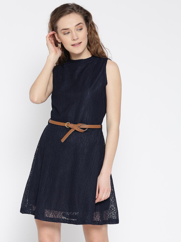U&F Women Navy Lace Fit & Flare Dress image