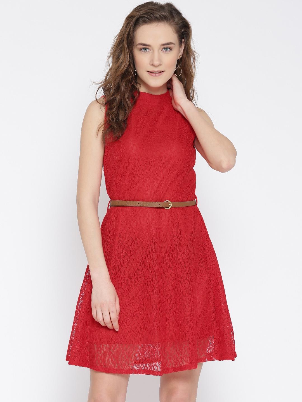 U&F Women Red Lace Fit & Flare Dress image