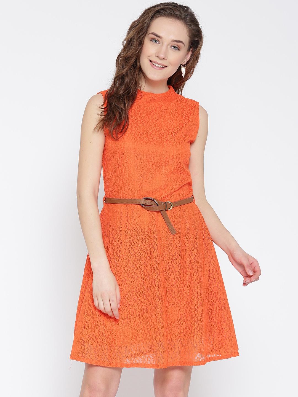 U&F Women Orange Lace Fit & Flare Dress image