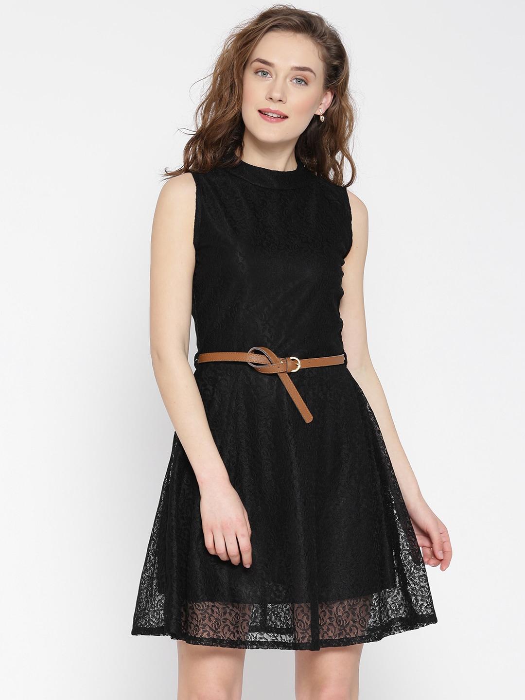U&F Women Black Lace Fit & Flare Dress image