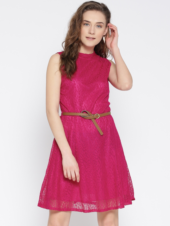 U&F Women Pink Lace Fit & Flare Dress image