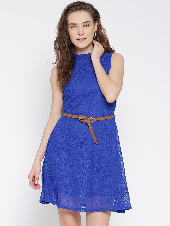 U&F Women Blue Lace Fit & Flare Dress image
