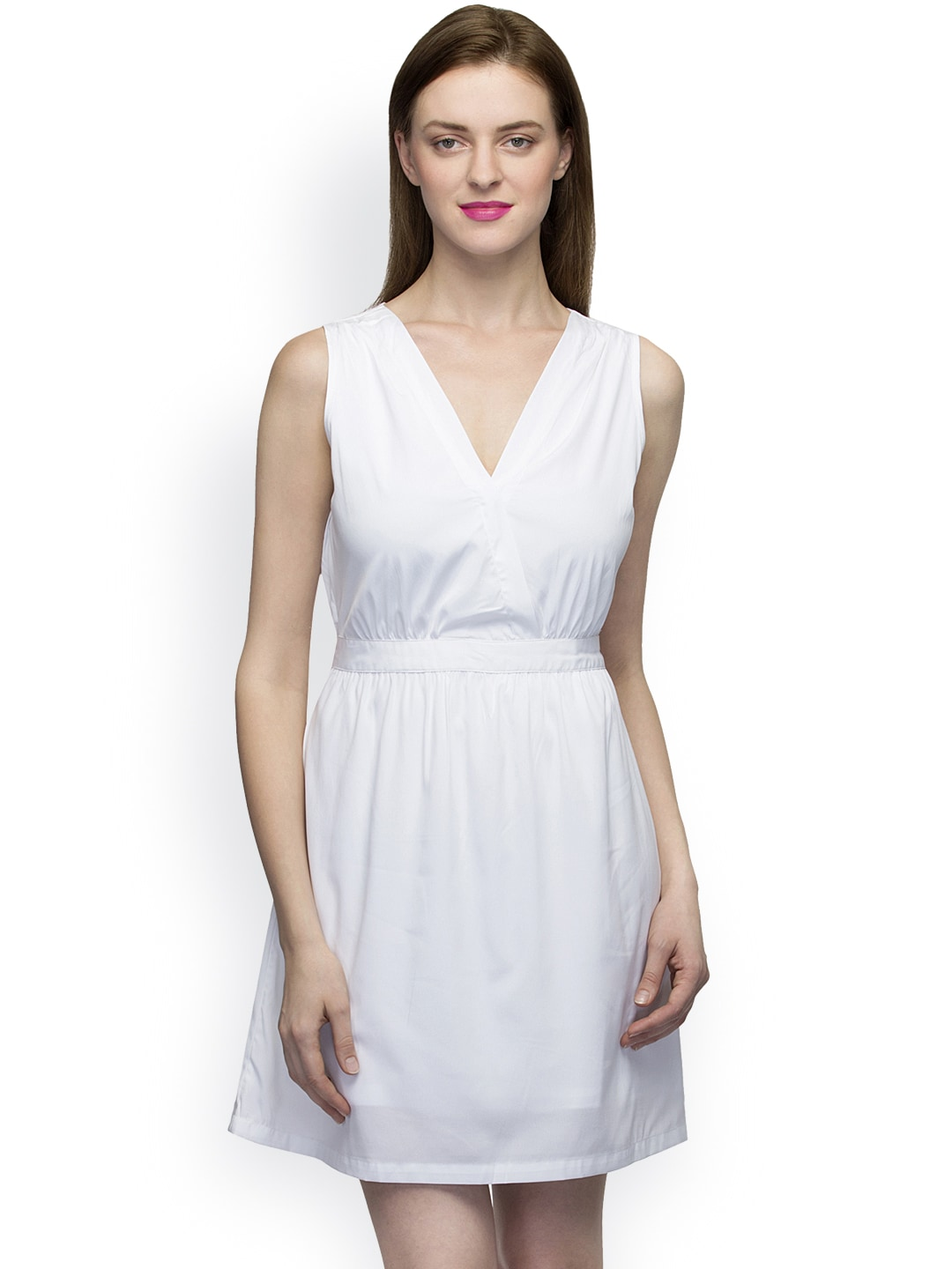 Oxolloxo Women Off-White Solid Fit & Flare Dress image