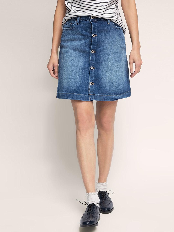 ESPRIT Blue Washed Denim A-Line Skirt image