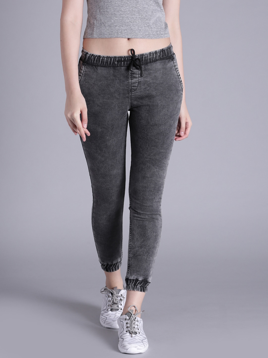 Kook N Keech Women Charcoal Grey Jogger Stretchable Jeans image