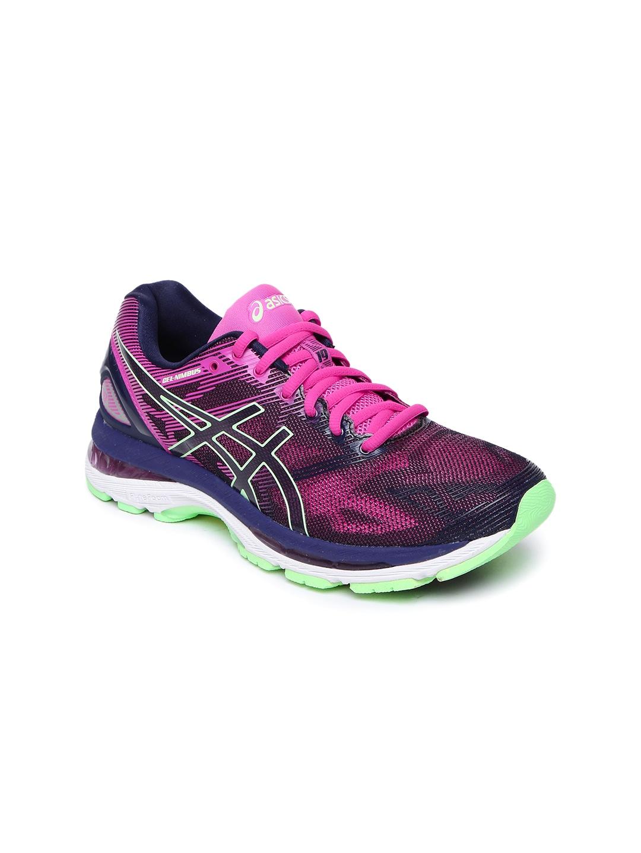 ASICS Women Navy & Pink Gel Nimbus 19 Running Shoes image