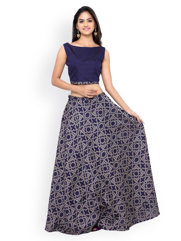 Inddus Navy Banarasi Cotton Semi-Stitched Lehenga Choli with Woven Pattern image