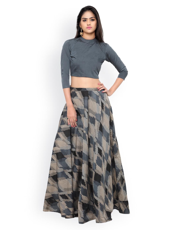 Inddus Grey & Black Ikat-Woven Banarasi Cotton Semi-Stitched Lehenga Choli image