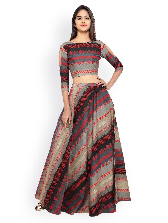 Inddus Beige & Red Banarasi Cotton Semi-Stitched Lehenga Choli with Woven Detail image