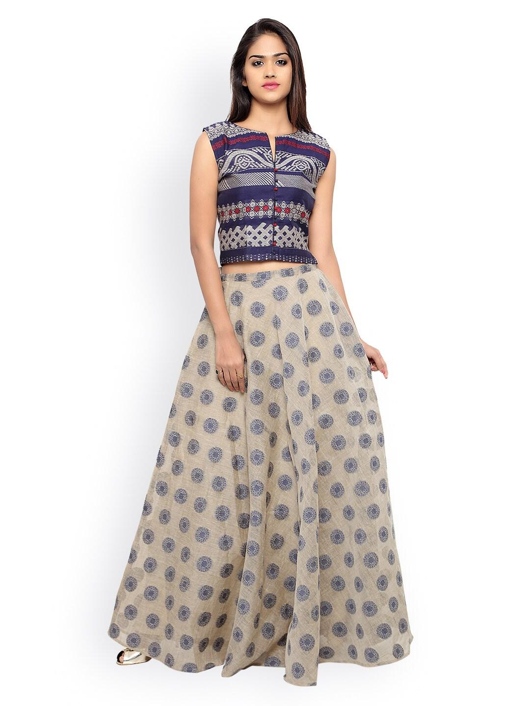 Inddus Navy & Beige Banarasi Cotton Semi-Stitched Lehenga Choli with Woven Detail image