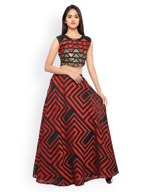 Inddus Red & Black Banarasi Cotton Semi-Stitched Lehenga Choli with Woven Pattern image
