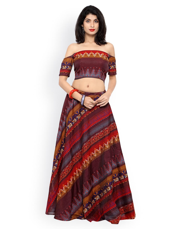 Inddus Maroon & Brown Ikat-Woven Banarasi Cotton Semi-Stitched Lehenga Choli image