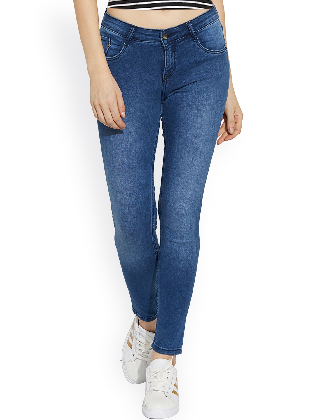 Kraus Jeans Women Blue Skinny Fit Mid-Rise Clean Look Jeans image