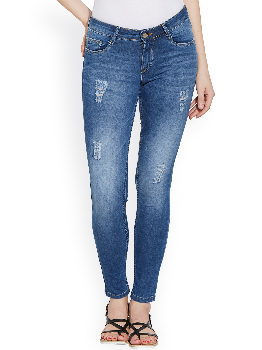 Kraus Jeans Women Blue Skinny Fit Mid-Rise Jeans image