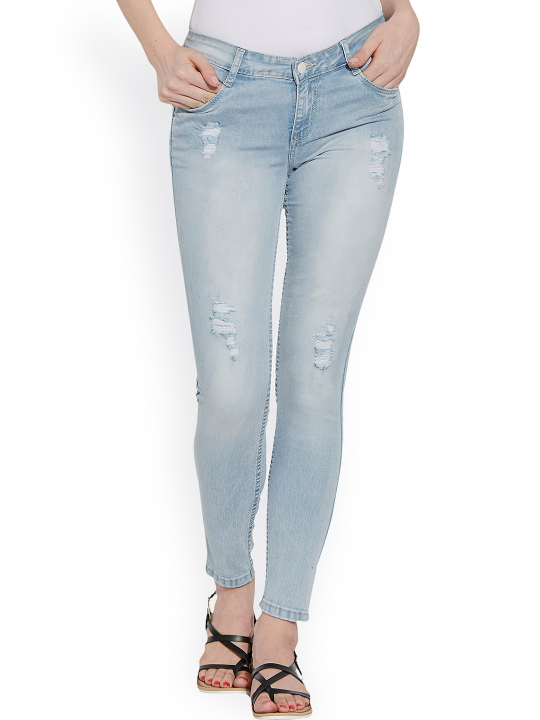 Kraus Jeans Women Blue Skinny Fit Mid-Rise Low Distress Jeans image