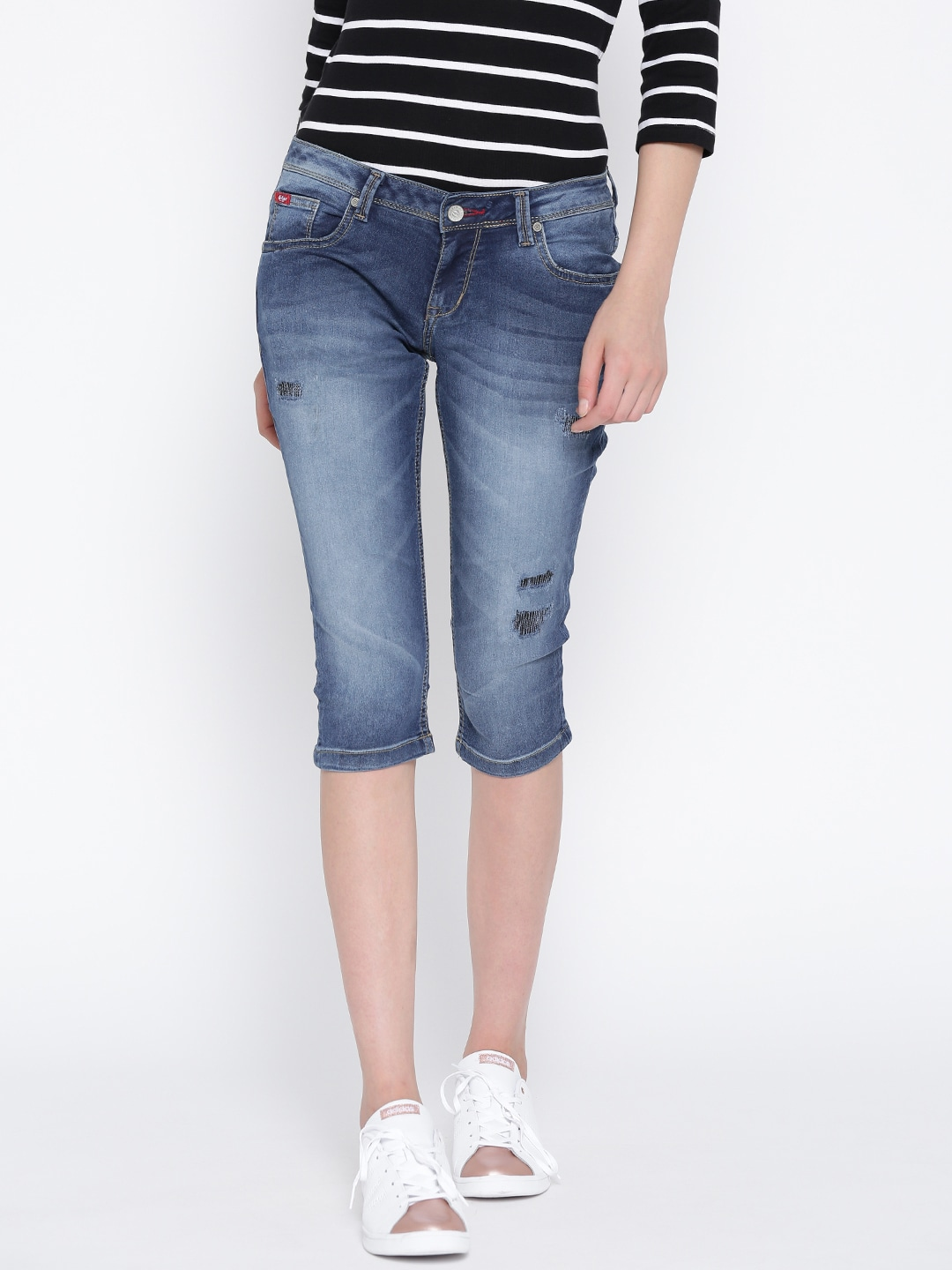 Lee Cooper Blue Slim Fit Denim Capris image