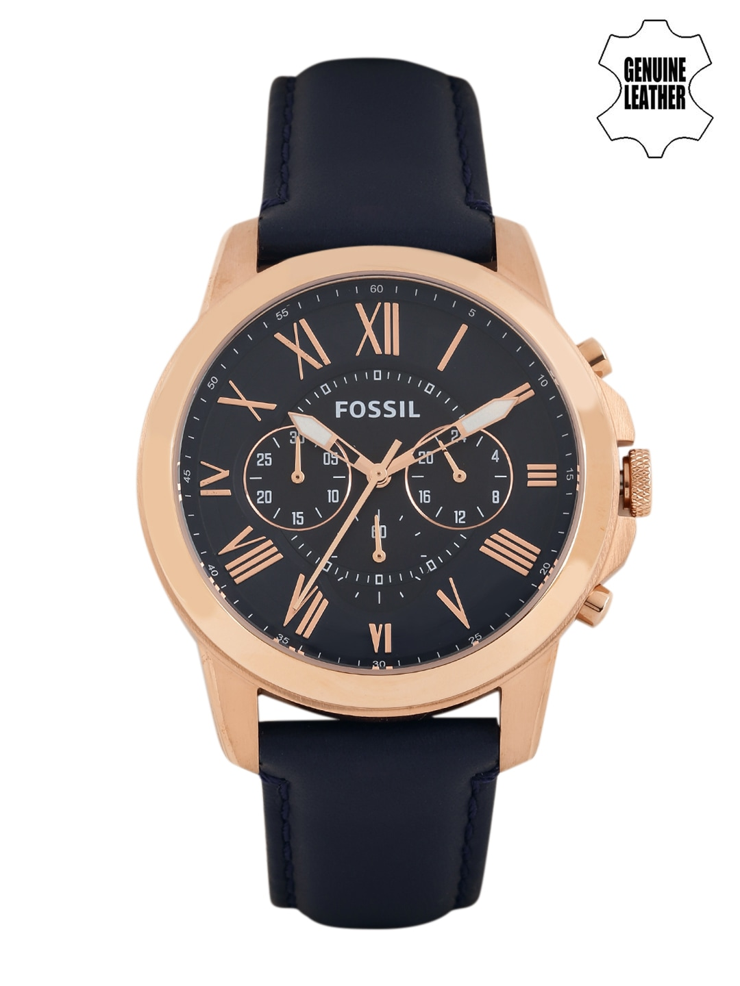 Fossil Men Navy Dial Chronograph Watch FS4835