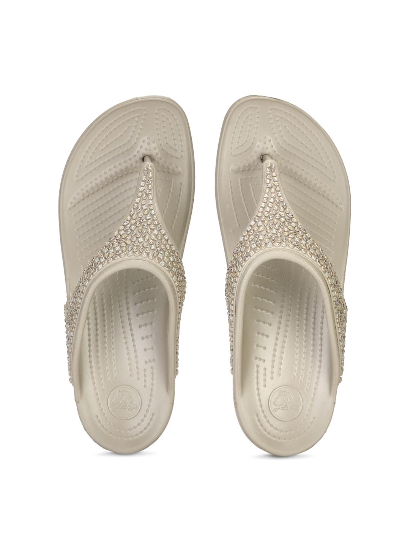 Crocs Women Beige Embelished Flats image