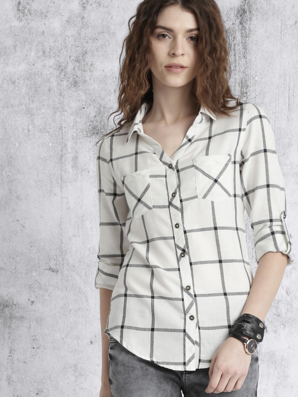 Roadster White & Black Women Casual Shirt