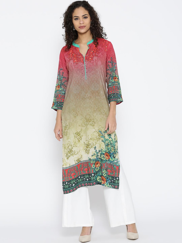 Shree Women Red & Olive Green Printed Straight Kurta image