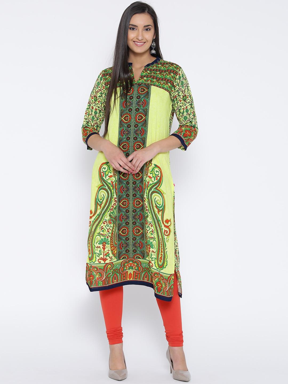 Shree Women Green Printed Straight Kurta image