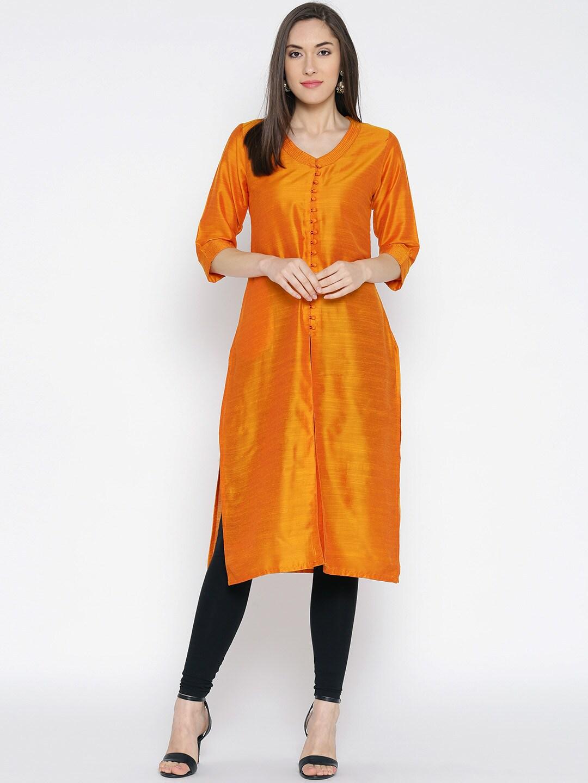 Shree Women Orange Solid Straight Kurta image