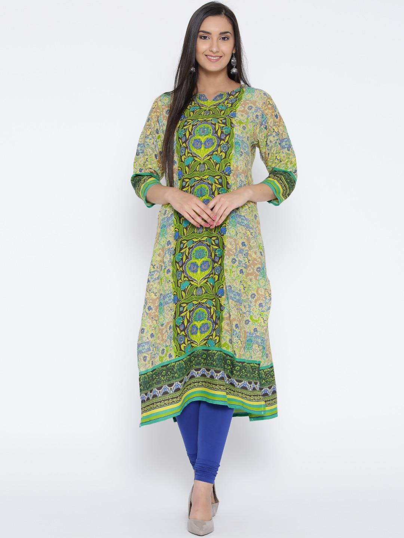 Shree Women Green & Beige Printed Straight Kurta image