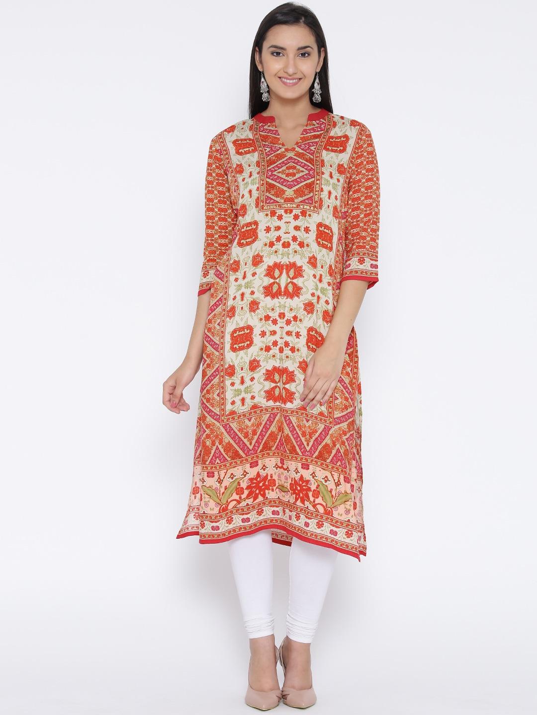 Shree Women Beige & Orange Printed Straight Kurta image