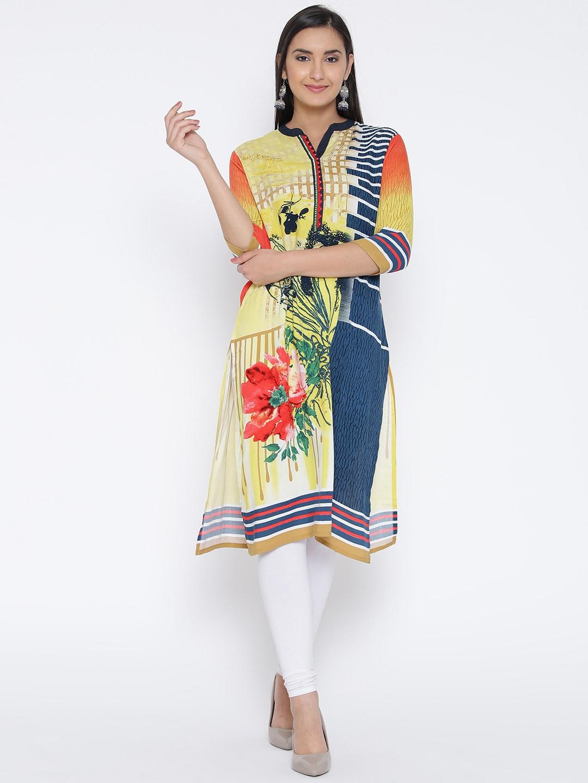 Shree Women Yellow & Navy Printed Straight Kurta image