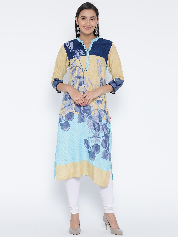 Shree Women Blue & Beige Printed Straight Kurta image