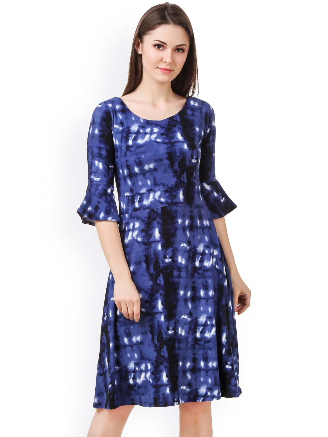 Purple Feather Women Blue Tie-Dyed A-Line Dress image