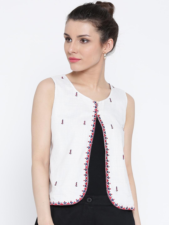 Rangriti Off-White Embroidered Ethnic Jacket