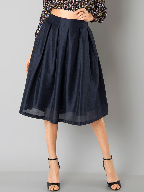 FabAlley Navy Silk A-Line Skirt image