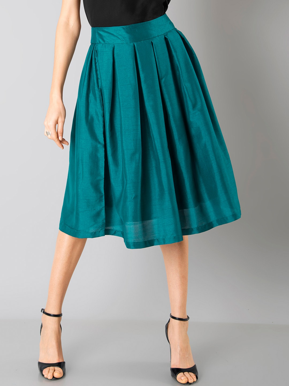FabAlley Teal Green Silk A-Line Skirt image