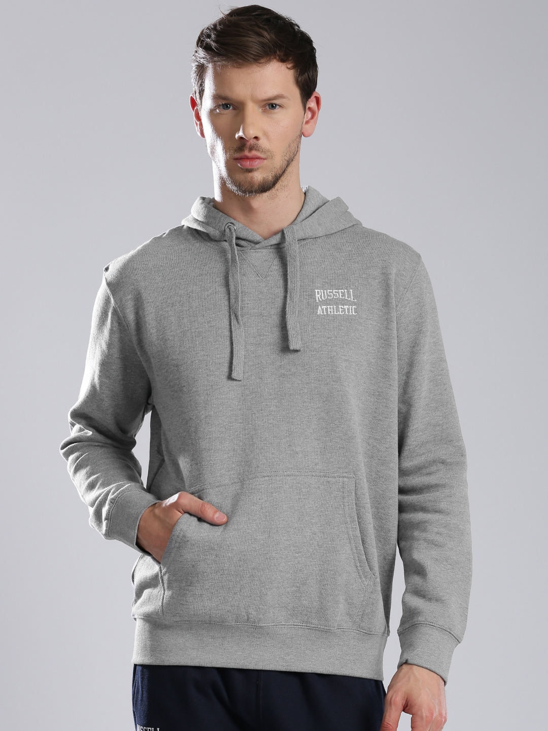 Russell Athletic Grey Melange Solid Hooded Sweatshirt image
