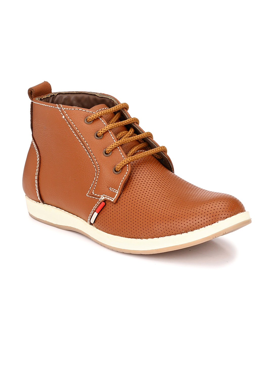 John Karsun Men Tan Brown Leather Mid-Top Flat Boots image